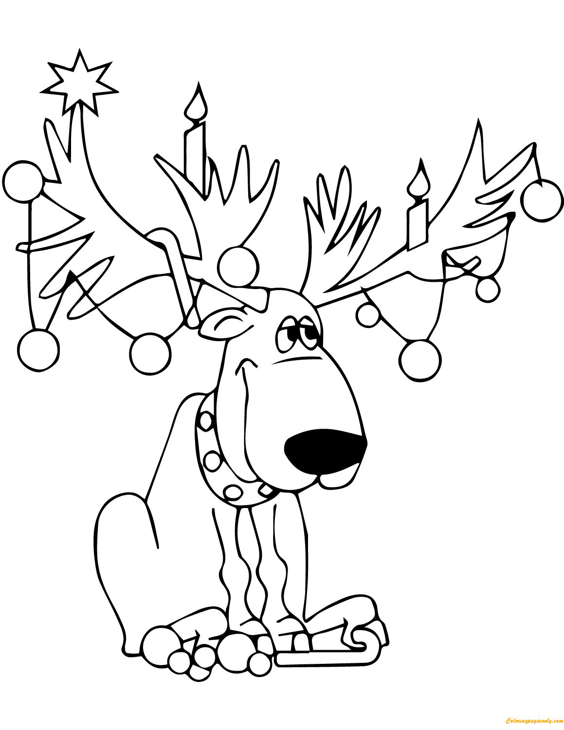 Christmas Reindeer Lights Coloring Page - Free Coloring ...