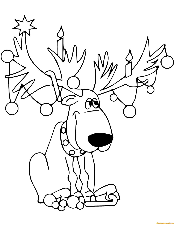 Christmas Reindeer Lights Coloring Page