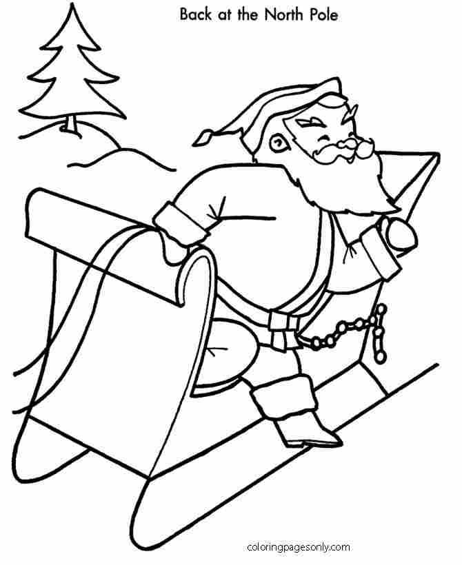 Christmas Santa at the North Pole Coloring Page