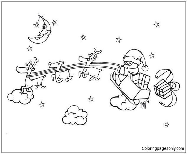 santa and his sleigh coloring pages | Stock vector of 'Outlined ... | 519x633