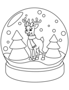 Christmas Snow Globe with Reindeer Coloring Page