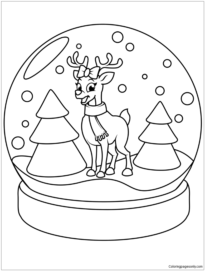 coloring page globe - christmas snow globe with reindeer coloring page free