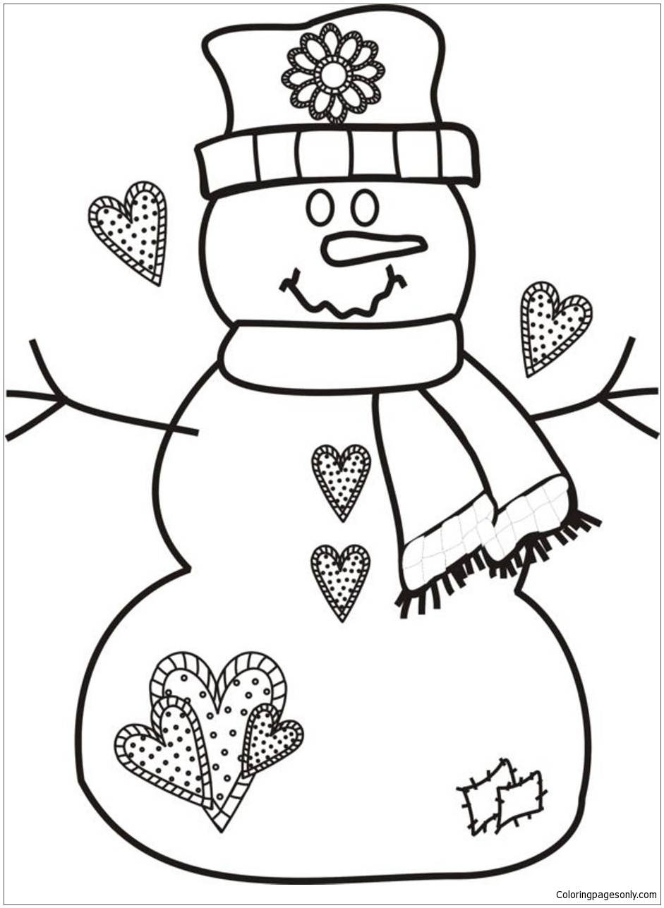 christmas snowman 1 coloring page coloring pages online