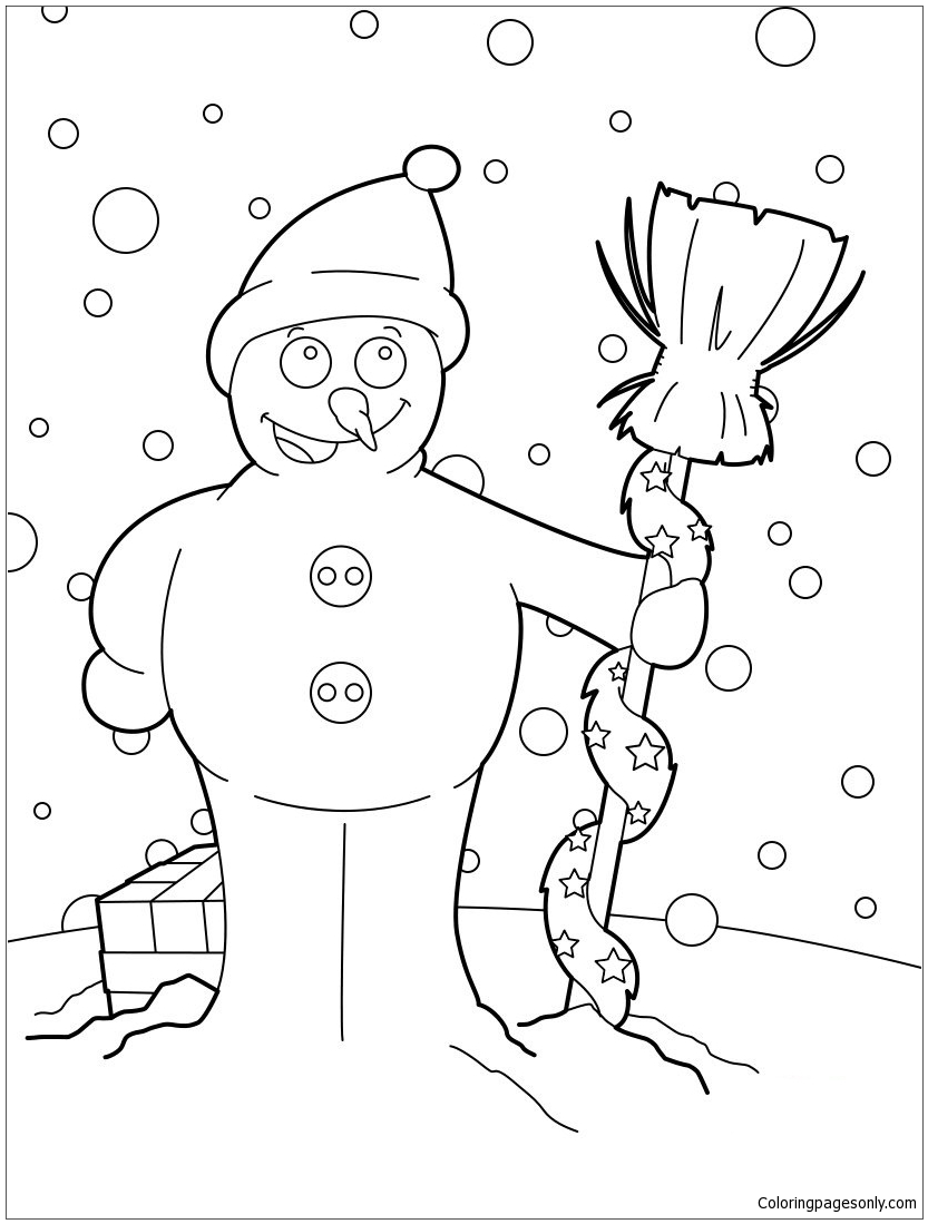 christmas snowman coloring page free coloring pages online