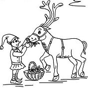 Christmas Sprite Feeding A Reindeer