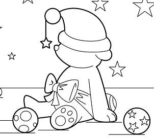 Christmas Teddy Coloring Page