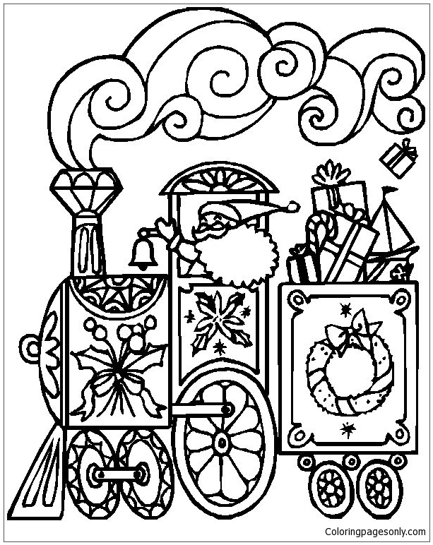 Printable christmas train coloring pages ~ Christmas Train Coloring Page - Free Coloring Pages Online