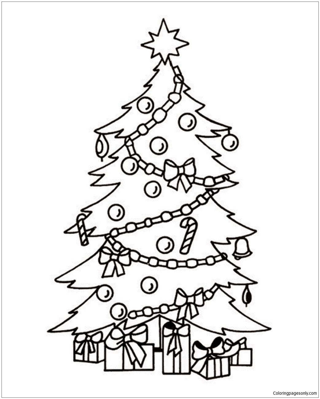 Christmas Tree And Presents 1 Coloring Page - Free Coloring Pages ...