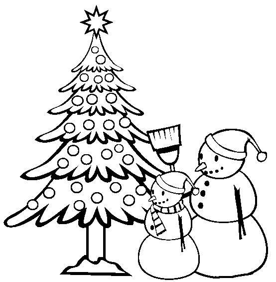 Christmas tree and snow man