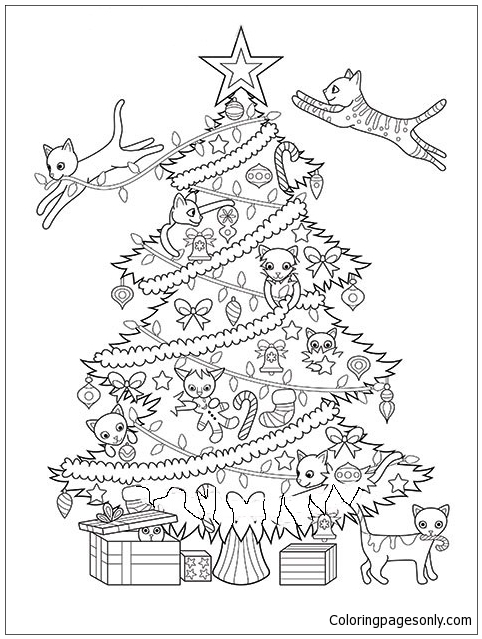 Christmas Tree Cats Coloring Page