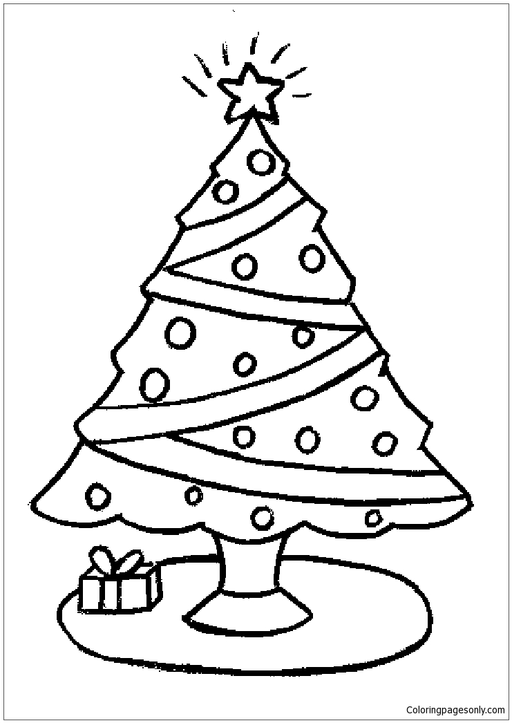 Christmas Tree Kids Coloring Page
