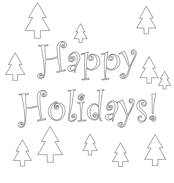 Christmas Trees Card Coloring Page