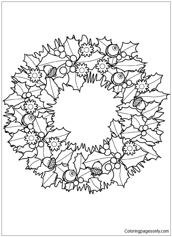 Christmas Wreath Coloring Page With Decorations In Exquisite ... | 759x553