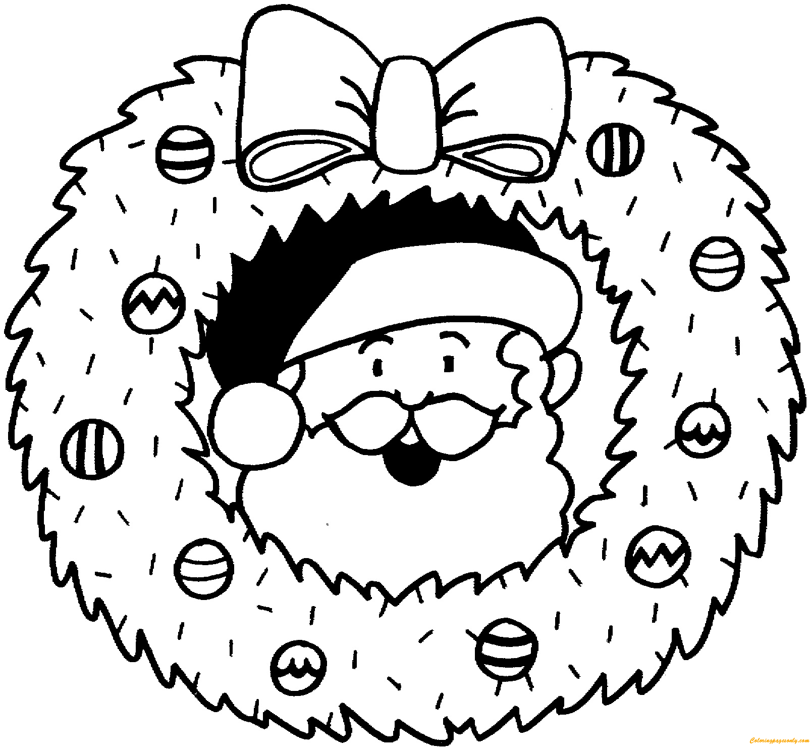 Christmas Wreath Santa Claus Coloring Page