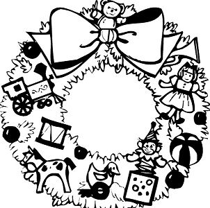 Christmas Wreath Coloring Page