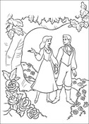 Cinderella And Prince Are Walking Together In The Garden  from Cinderella Coloring Page