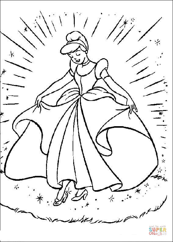 Cinderella With Her Gown From Cinderella Coloring Page