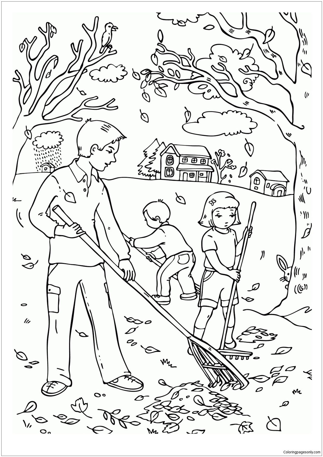 Cleaning Leaves Coloring Page