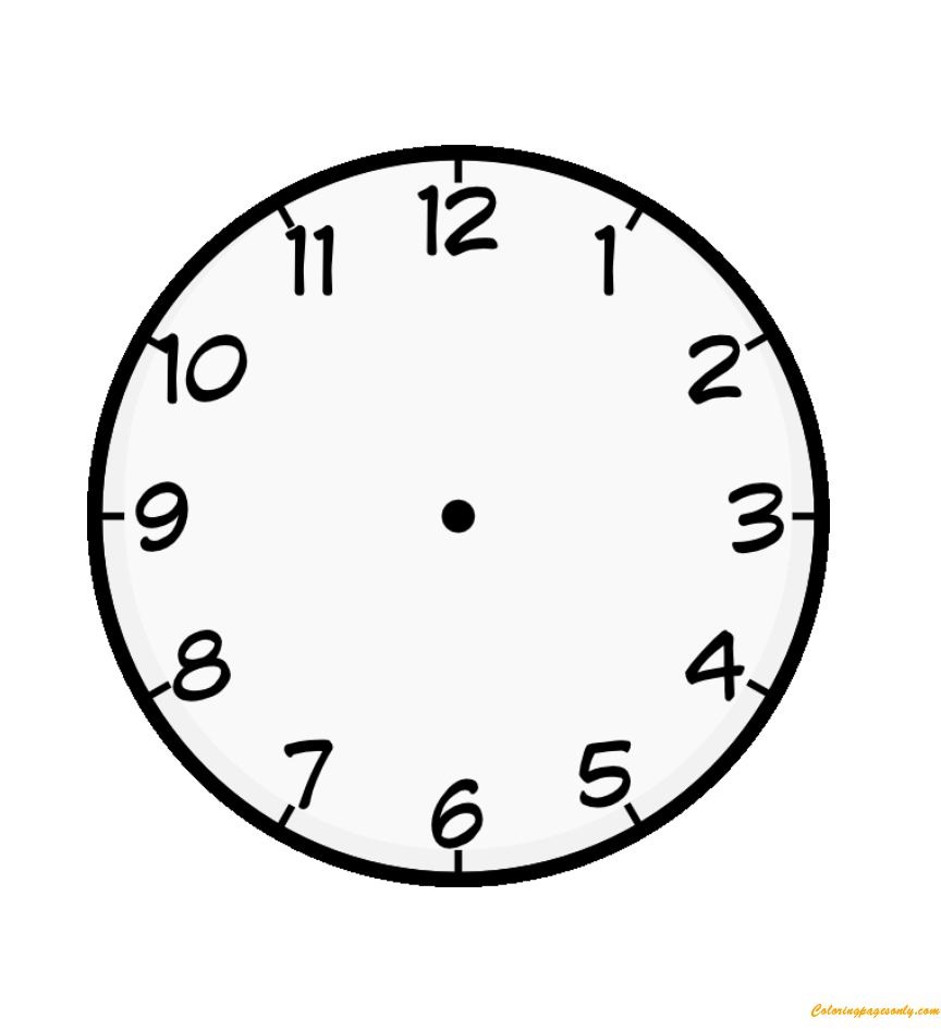Clock Face Coloring Page Free Pages Online