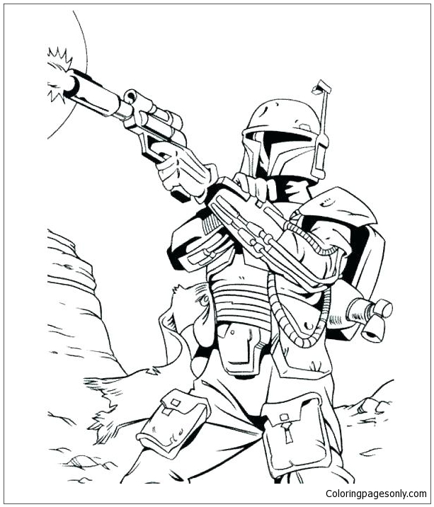 Clone Trooper Bounty Hunter Star Wars Coloring Pages