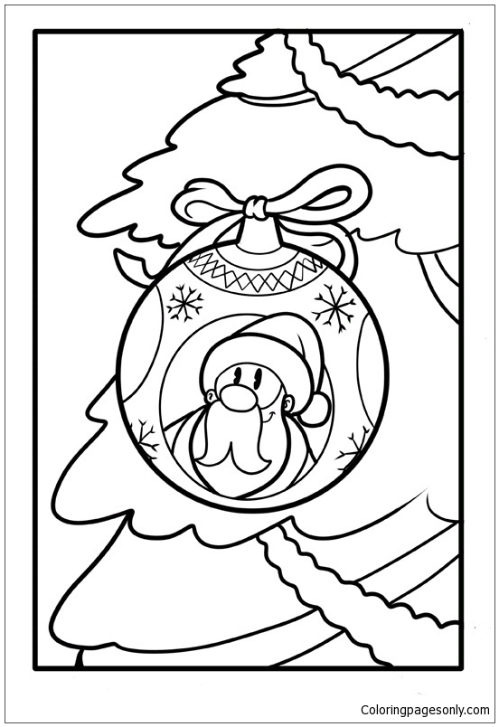 Close Up Of Christmas Ball With The Motif On Santa Claus Coloring Page