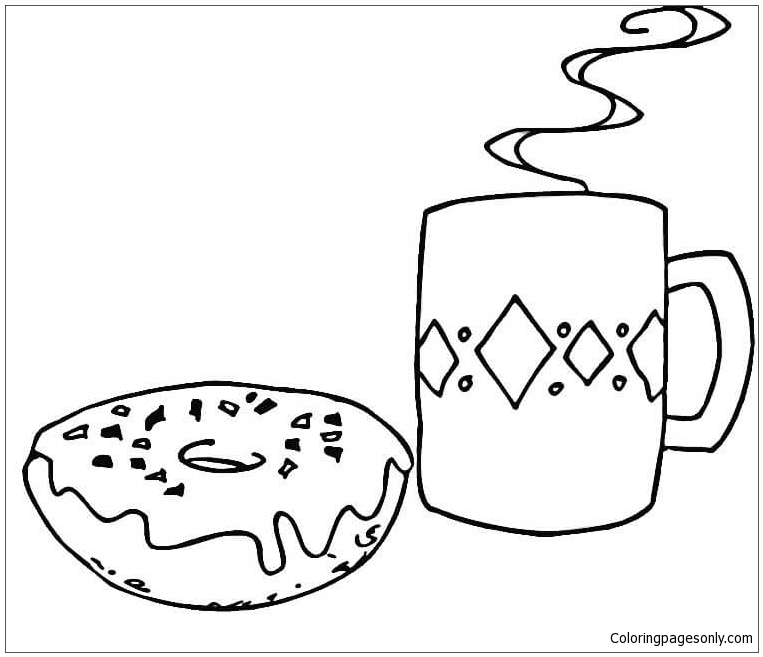 Coffee And Donut Coloring Page Free Coloring Pages Online