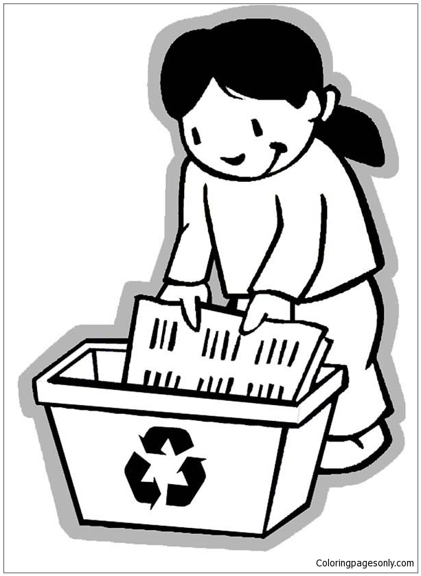 Collecting Paper For Recycling  Coloring Page