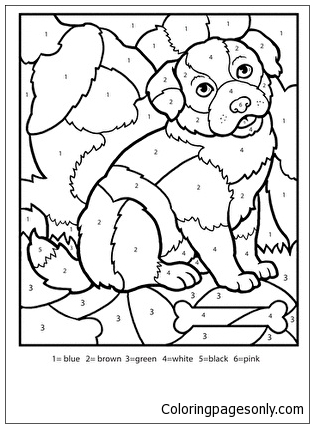 Color By Number Puppy Coloring Page