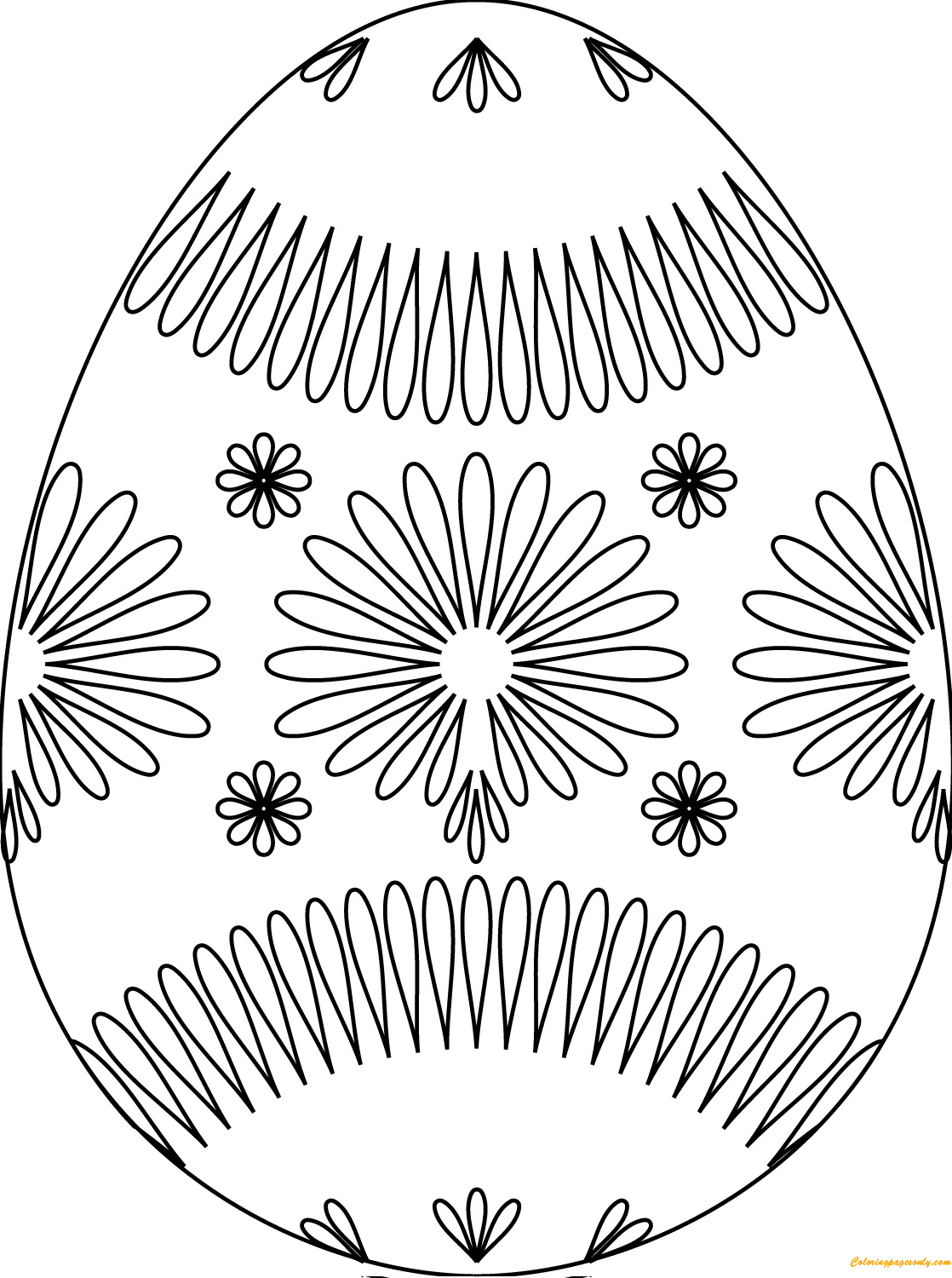 Easter egg colouring games online - Colorful Easter Egg With Nice Flower Pattern Coloring Page
