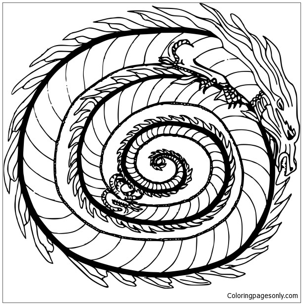 Coloriage Mandala Dragon A Imprimer Coloring Page Free