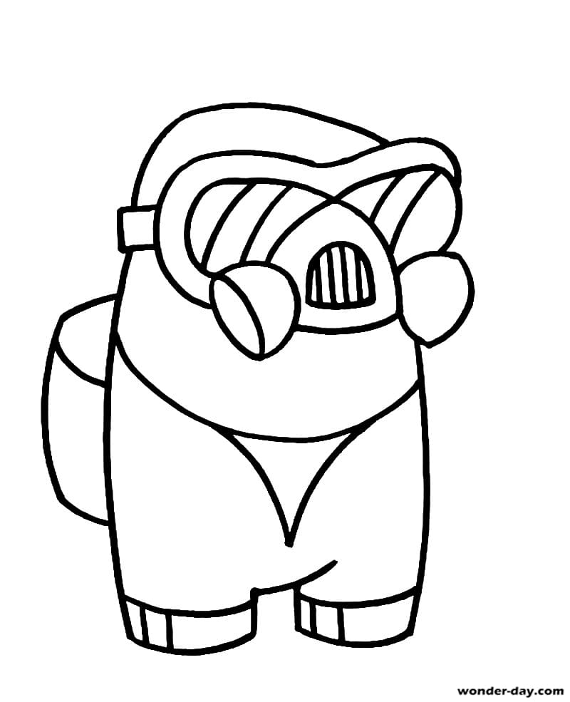 Astronaut Among Us in a gas mask Coloring Pages - Among Us ...