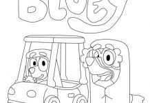 Bluey Fun Car Coloring Page