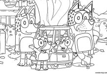 Bluey family in the garden Coloring Page