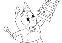 Bluey with toys Coloring Page