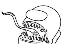 Impostor-monster Among Us Coloring Page