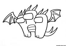 King Ghidorah in the style of Among Us