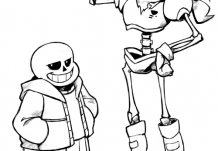 I finally gave in and drew the skelebros. Might color this later