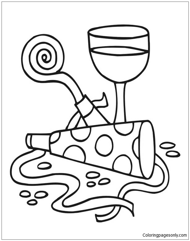 Complete Sets Of New Years Party And A Glass Of Wine  Coloring Page