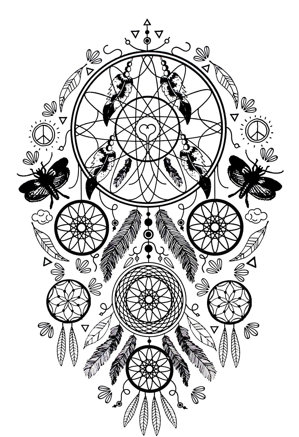 Complex Dream Catcher And Butterflies Coloring Page