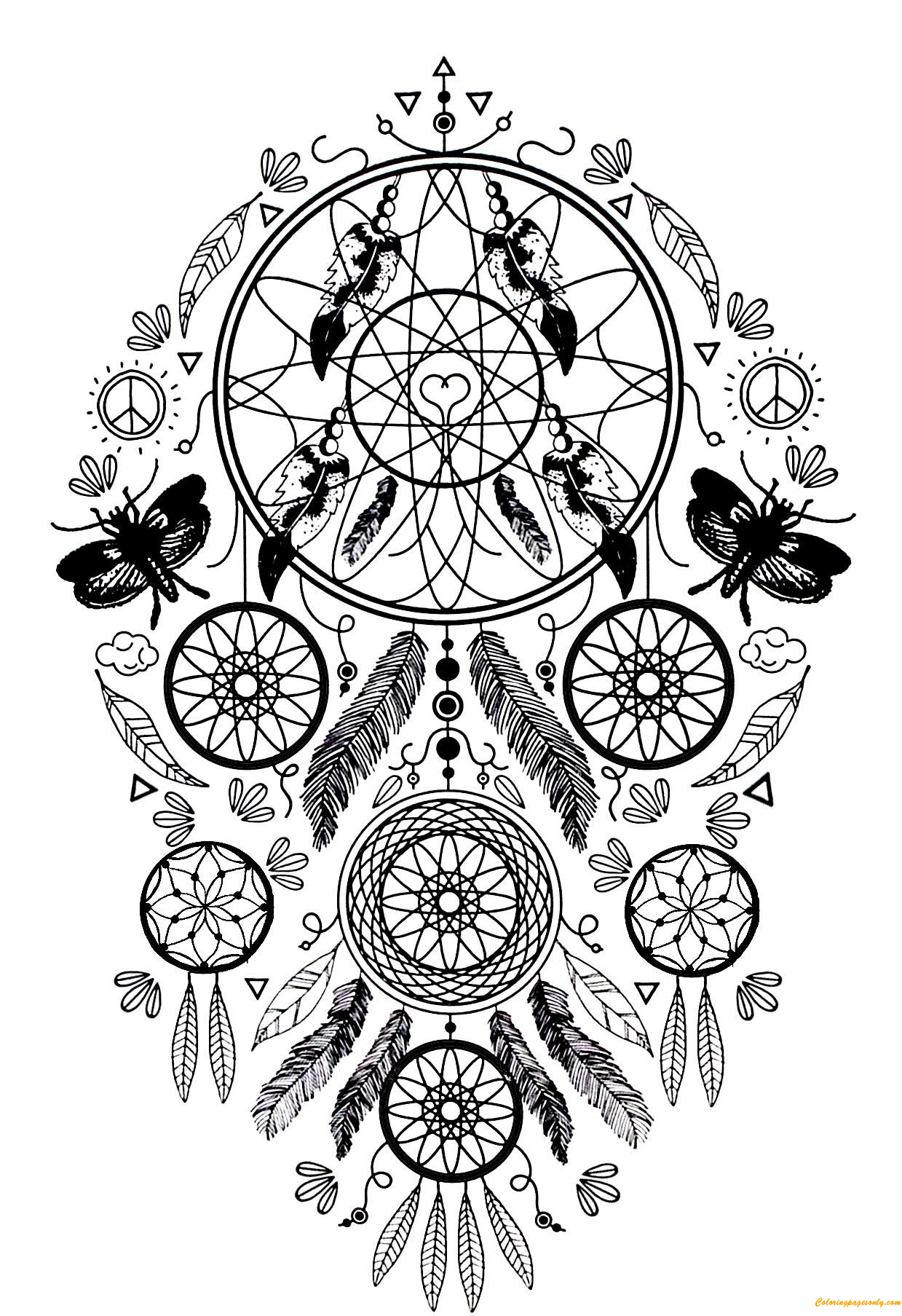 Complex Dream Catcher And Butterflies Coloring Page Free