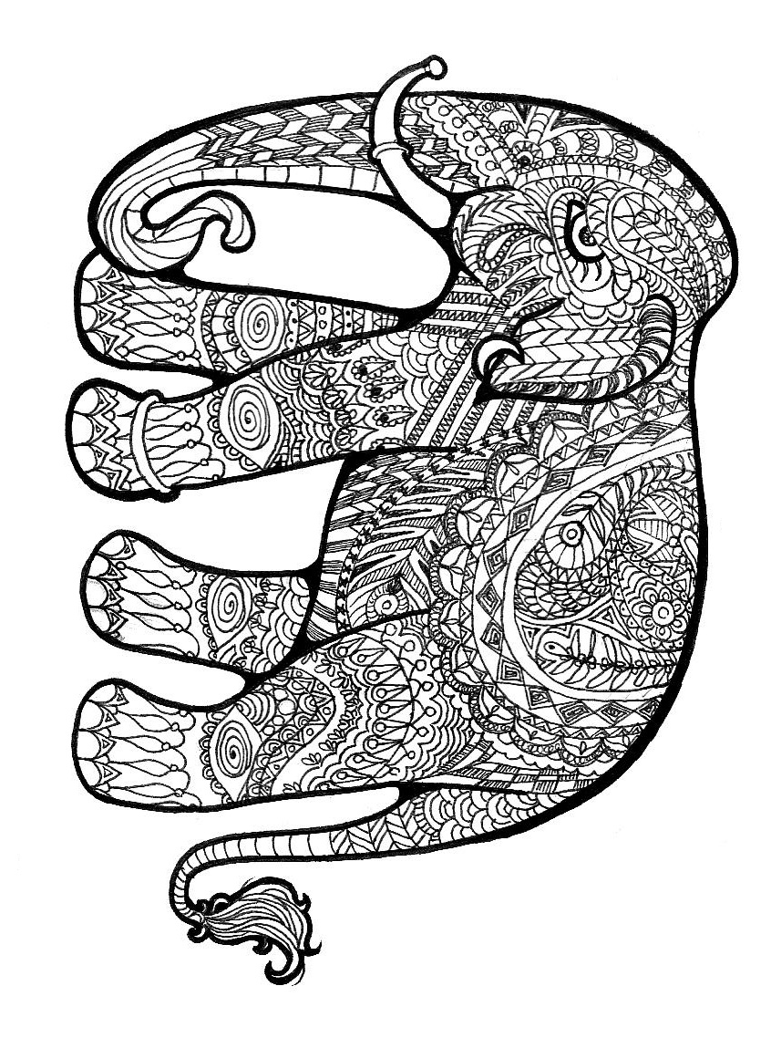 Complex Picture Elephant   Coloring Page