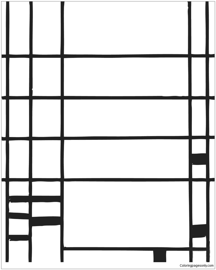 Composition 10 By Piet Mondrian Coloring Page
