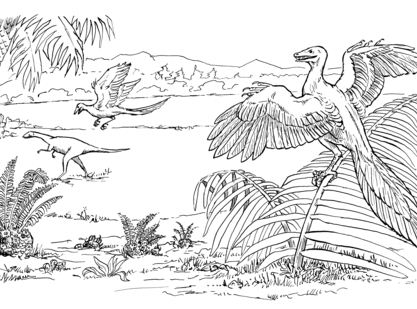 Compsognathus And Archaeopteryx  Coloring Page