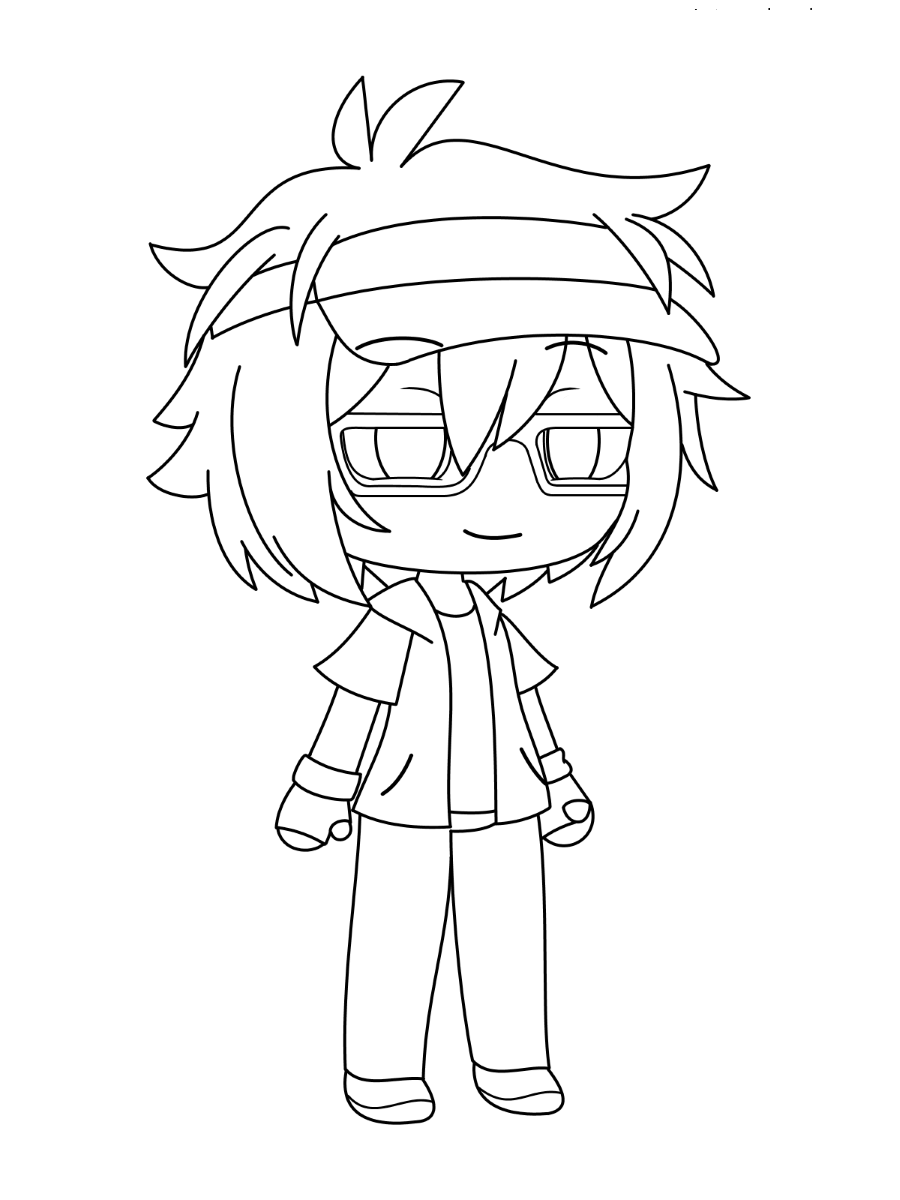 Cool boy from Gacha Life games Coloring Page