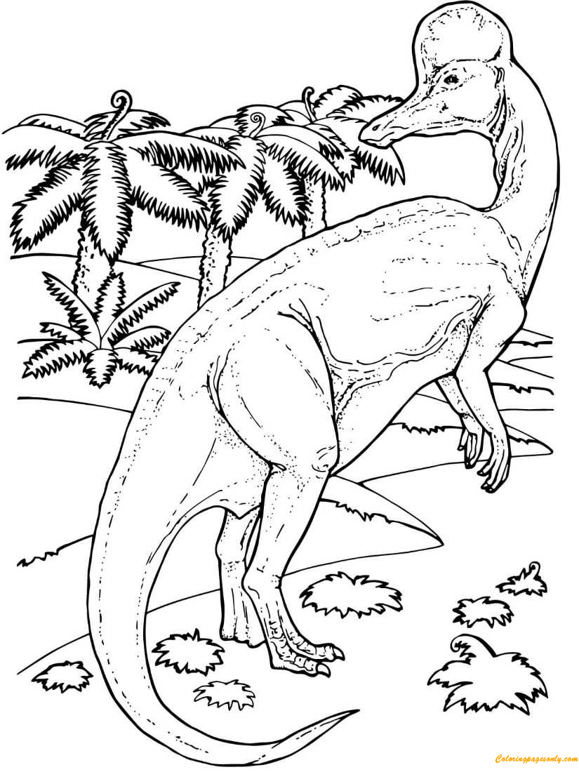 Corythosaurus Duck Billed Dinosaur Coloring Page