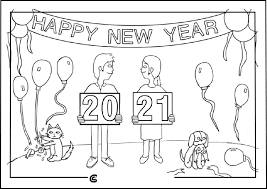 Couple New Year 2021 Coloring Page