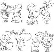Couple Welcome To Valentine Day Coloring Page