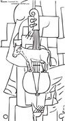 Cow And Violin By Kazimir Malevich Coloring Page