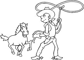 Cowboy catching the horse with lasso