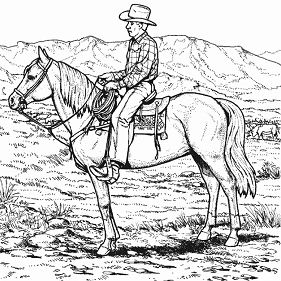 Cowboy Riding Horse Coloring Page